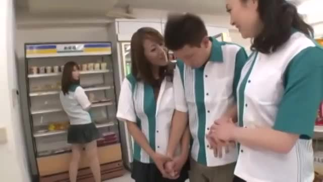 Asian Japanese Babes Employees Of Convenience Store Group Sex
