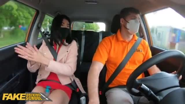 Fake Driving School Sexy Black haired Lady Dee gets fucked doggystyle in public