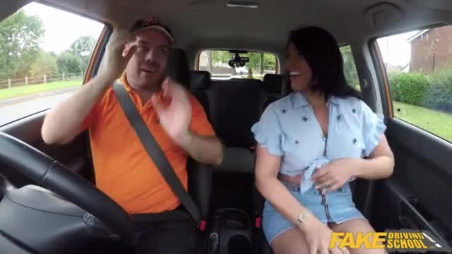 Fake Driving School British Brunette is back to fuck him