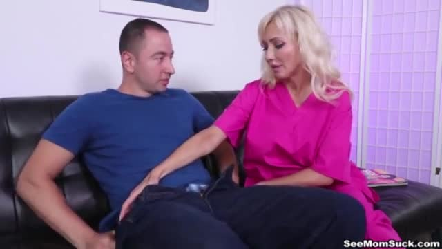 Joey's got a low sperm count but its a good thing his massive boob step mom is there to help handjob and blowjob his cock