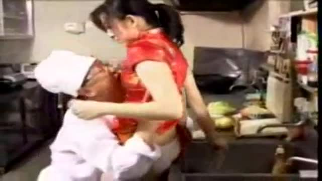 Horny japanese cook fucks a mature lady