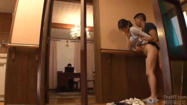 Japanese son fucks mom behind dad